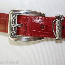 Brighton Leather Dress Belt Womens M L 32 Red Golf Bag Silver Tone Accent Buckle Photo