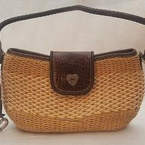 Brighton Leather Handle and Trim Natural Woven Straw Structure Tote Bag Vintage  Photo