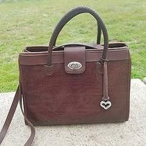 Brighton Leather Horizontal Detailed Turnlock  Rope Shoulder Bag Rare  Photo
