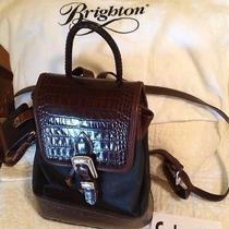 Brighton Leather & Microfiber Backpack W/ Cell Phone Holder Retails 220 Photo