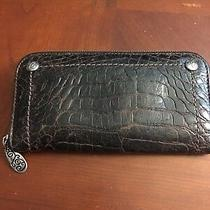 Brighton Leather Wallet Clutch Purse Brown Croc Organizer  Photo