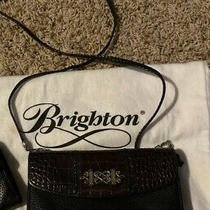 Brighton Leather Wallet Organizer on Strap Crossbody Handbag Black Brown Croc Photo