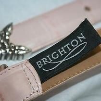 Brighton Light Pink Leather Belt With Floral Metal Buckle & Tip Size 34 B10310 Photo