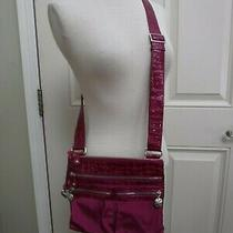 Brighton Magenta Purple Croc Patent Leather Crossbody Handbag Purse Satchel Bag Photo