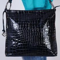 Brighton Med to Lrg Black Crocco Leather Shoulder Hobo Tote Satchel Purse Bag Photo