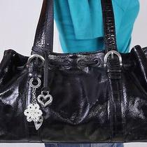 Brighton Medium Black Patent  Leather Shoulder Hobo Tote Satchel Purse Bag Photo