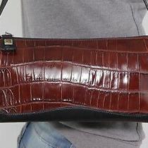 Brighton Medium Brown Black Croco Leather Shoulder Hobo Tote Satchel Purse Bag Photo