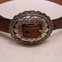 Brighton Medium Leather Belt With Flower Style Buckle Dated 1993 as Is Photo