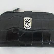 Brighton Mingle Medium Wallet in Black Leather Croc Embossed Nwt Style T22063 Photo