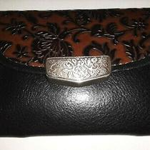 Brighton Mini Belt Coin Purse Flap Envelope Wallet in Black Brown Leather Photo