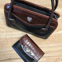 Brighton Mock Crock Black/brown  Handbag Wallet Set - Used Photo