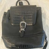 Brighton Monica Black Crocodile Croco Nylon Leather Backpack Purse 328  Photo