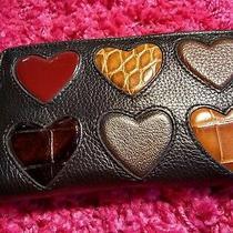 Brighton Multi Heart Black Leather Wristlet Wallet Nwt Valentine's Day Love Photo