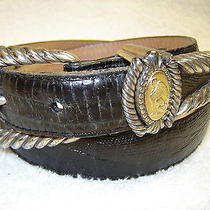 Brighton Museum Belt Black Leather Womens 28 Small Silver Gold Greek Egyptian  Photo
