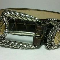 Brighton Museum Brown Leather Silver/gold Metal Belt Size L Style  37819 Photo