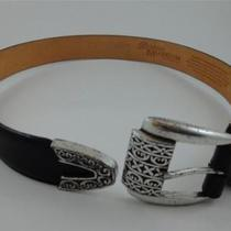 Brighton Museum Collection Black Silver Roman Heart Belt 32 Photo