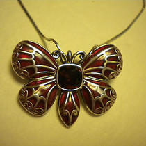 Brighton Necklace the Dutchess Red Swarvosky Crystlal Butterfly Nwt Photo