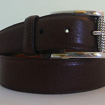 Brighton New Glove Lining Leather Belt  Size 34 Brown Silver Plated Made  Usa  Photo