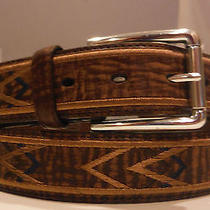 Brighton New Leather Belt Size 42 Silver Plated Embroidered Nwt Photo