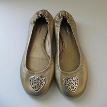 Brighton Nwot Gold Leather Ballet Flat Heart Sz 8 Photo