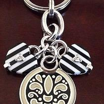 Brighton Nwt Sassy Stripes Heart Silver Key Fob Ring/necklace Pendantgift Pouch Photo