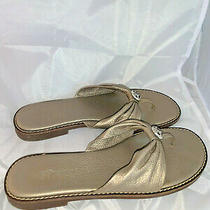 Brighton Obsess Size 8 Leather Gold Shoes Sandals Thong Flip Flops Photo