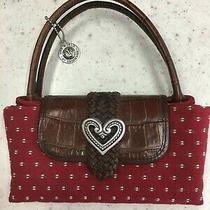 Brighton One World Red Fabric Folding Tote Bag W/leather Handles & Silver Heart  Photo