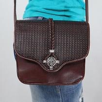 Brighton One World Small Brown Leather Crossbody Shoulder Hobo Tote Purse Bag Photo