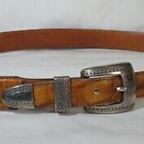 Brighton Onyx Light Brown Belt - 36 Reptile Embossed  Photo