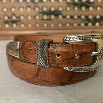 Brighton Onyx Size 40 Brown Alligator Croc Embossed Vtg Leather Belt   Photo