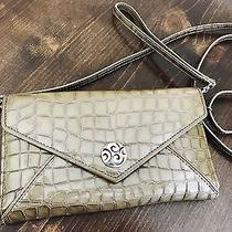 Brighton Organizer Wallet Crossbody Clutch Croc Olive Green Photo