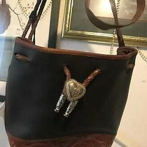 Brighton Out West Silver Heart & Fobs Thick Vtg Distressed Leather Shoulder Bag Photo