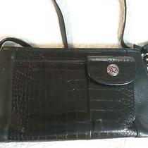 Brighton Pebbled Croc Embossed Black Leather Handbag Satchel Purse Shoulder Bag Photo