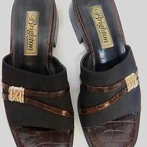 Brighton Petra Brown Croc Embossed Leather Slides Sandals 7 M Photo