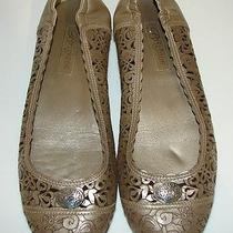 Brighton Pewter Juno Flower Scroll Cut Out Leather Ballet Flats Shoes Size 6 Photo
