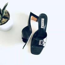 Brighton Pewter Tyler Croc Buckle Slide Sandal Black Sz 10 Photo