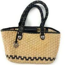 Brighton Phyllis Heart Woven Straw Black Leather Trim Lined Purse Handbag Tote  Photo