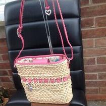 Brighton Pink Leather Charm Straw Tote Photo