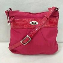 Brighton Pink Nylon Multi-Pocket Crossbody Bag Patent Leather Croc Embossed Trim Photo