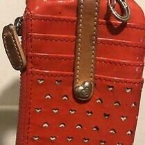 Brighton Pixie Cut Out Red Hearts Twister Patent Lthr Key Chain Organizer Wallet Photo