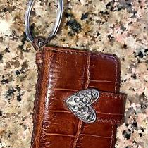 Brighton Pouch Key Chain Brown Croco Leather Mini Photo Hold Ring Fob Photo