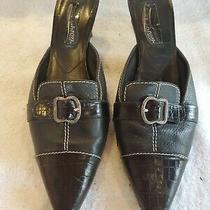 Brighton Precia Black Leather W/buckle Cap Toe Mules Pumps Heels Womens 8.5 M Photo