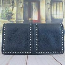 Brighton Pretty Tough Navy Blue Silver Metal Studded Leather Wallet Photo