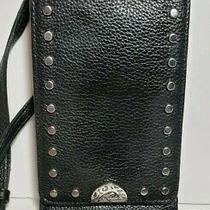 Brighton Pretty Tough Phone Organizer Purse Black Leather Wallet Crossbody  Photo