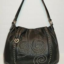 Brighton Pretty Tough Starlet Studded Black Leather Hobo Shoulder Bag Mrp280 Photo