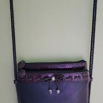 Brighton Purse Black and Brown Long Braided Strap Silver Accent Hardware Key Photo