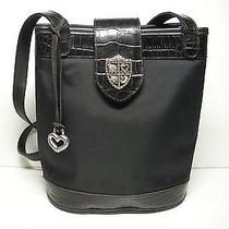 Brighton Purse Black Croc & Microfiber W/ Silver Crest Photo