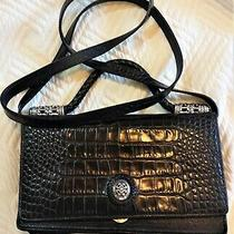 Brighton Purse Crossbody Shoulder Clutch Black Silver Croc Detach Strap Wallet Photo
