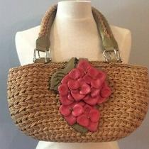 Brighton Purse Straw With Leather Flowers and Leaves Leather Trim Photo