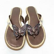 Brighton Raffia and Leather Butterfly Thong Sandals Brown/natural Size 8 1/2 M Photo